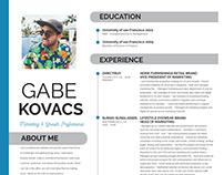 Gabe Kovacs Resume Design