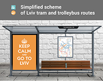 Simplified scheme of Lviv tram and trolleybus routes