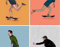 Characters Skateboarding