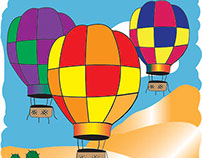 Hot Air Balloon Project using Adobe Illustrator.