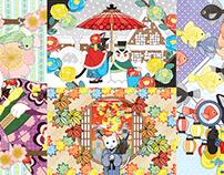 春うらら・相合傘・秋の窓・夏祭り猫・花火大会・紫陽花(リメイク)