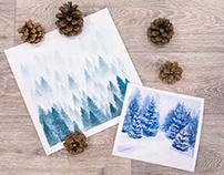 Winter landscapes of coniferous forest