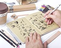 Doodles & watercolor