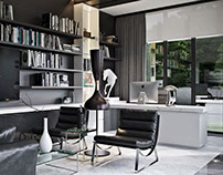 Trendy Home Office. 3D Rendering. California project