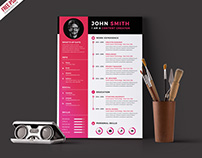 Free PSD : Modern Resume CV Template PSD