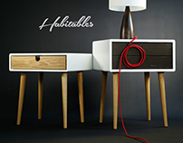 Nightstand / Bed SIde Table in Corian and Oak