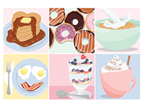 Breakfast Flat Illustrations