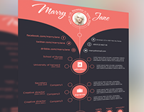 One Page PSD Resume Template