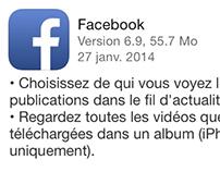 Nouveauté sur Facebook iPhone