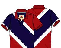 Men's Diagonal Panel Poloneck T-shirt Vector Template
