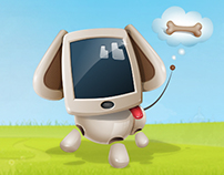Cute Dog Robot Cartoon Character