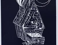 Babayaga lino cut print