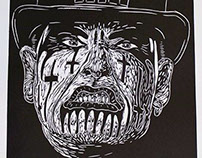 King Diamond lino cut print