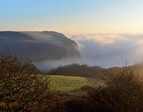 Fog & sea mist over Hastings. UK