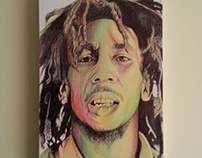 Bob Marley Portrait Canvas Drawing