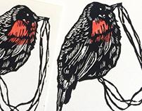 Black bird prints