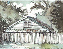 Old and Abandoned Florida Houses in Watercolor