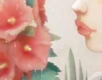 Pensées et Roses trémières