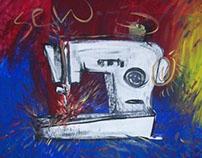"""Sew Frenzie"" - acrylic painting on canvas"
