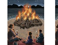 Fold-in illustration: Beach Bonfire. Progress and final