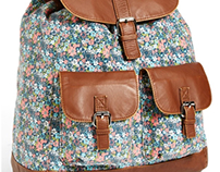 T-shirt & Jeans Faux Leather Trim Floral Backpack