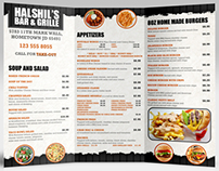 Bar & Grille Menu Design