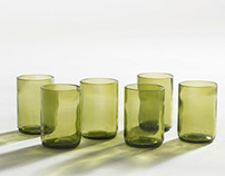 shot glasses/recycled bottles