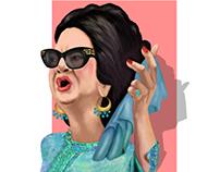 المطربة أم كلثوم Singer Umm Kulthum كاريكاتير cartoon