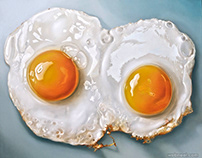 Realistic Oil Painting Fried Eggs