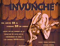 """Afiche promocional obra de teatro """"Invunche""""."""