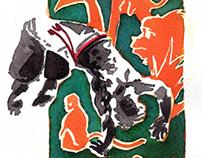 Watercolor of capoeira n°573