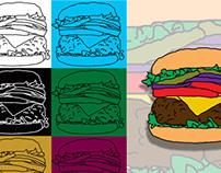 Ilustração Digital - Hamburger, I love you.