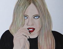 Girl Blue Eyes And Red Lips - Drawing