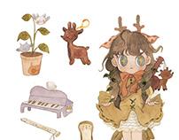 动物女孩日常贴纸//stickers of animalized girls' daily life
