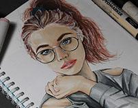 Portrait of girl in glasses