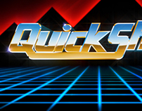 QuickShot logo, eighties desert chrome style