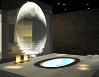 3D concept design and rendering of a spa stand