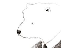 Polar bear in the city
