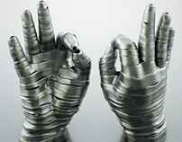 Steel hand sculpture