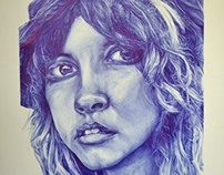 Stevie Nicks Commission - Blue Biro on Paper