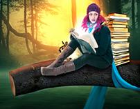 girl reading book in dark night