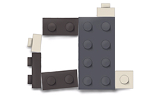 Lego type illustration and magazine cover
