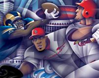 St. Louis Sports wall mural