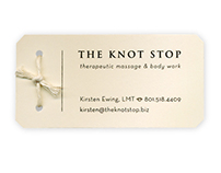 The Knot Stop Business Card for Massage Therapist