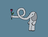 Valentine day elephants
