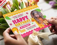 5×7 Designer Birthday Invitation Card PSD