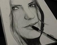 Nina Dobrev Biro Portrait Drawing