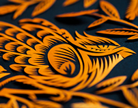 Papercut designs: two birds in orange color