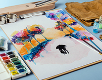 Colorful Trees Watercolor Painting Series
