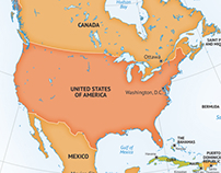 Map of continent North America